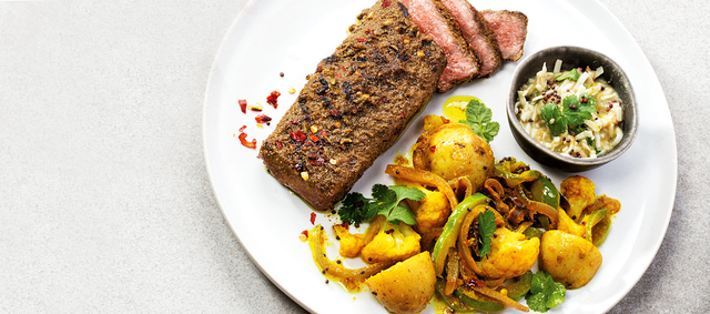 Beef Flat-Iron Steaks with Masala Potato Salad and Coconut Chutney
