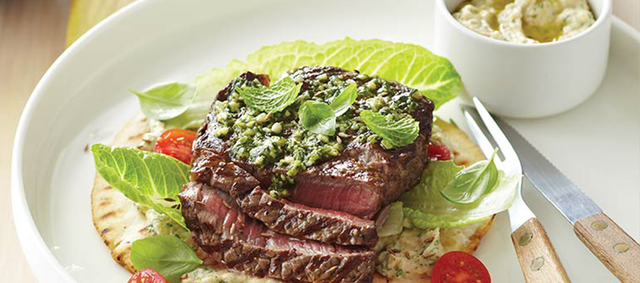 Beef New York Strip Steak with Baba Ghanoush