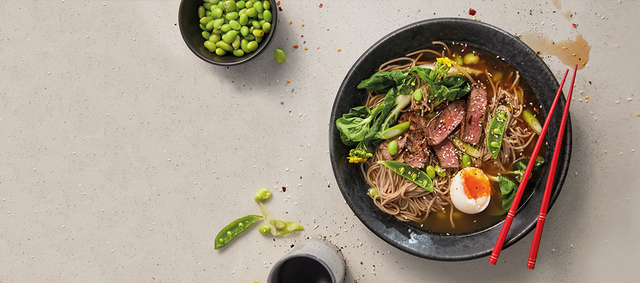 Beef Rib Eye Steaks with a Soba Noodle Bowl