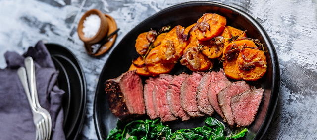 Beef with Wilted Spinach and Sweet Potato Gratin