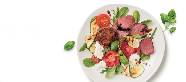 Balsamic glazed Venison Medallions with Caprese salad