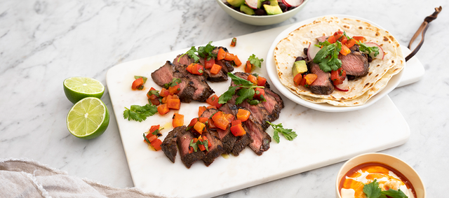 Chipotle Lime Beef Flat-Iron Steaks with Tomato Salsa & Black Bean & Avocado Salad