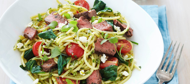 Flat-Iron Steak with Summer Spaghetti