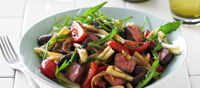 Flat-Iron Steaks and Pasta Salad