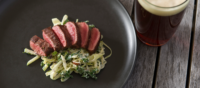 Flat-Iron Steaks with White Cabbage and Kale Slaw