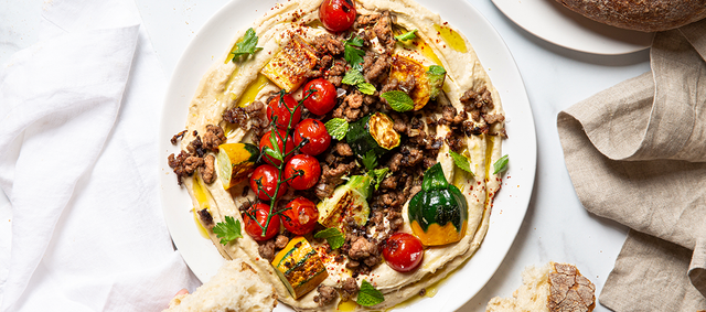 Hummus Bowl with Zucchini and Spiced Lamb