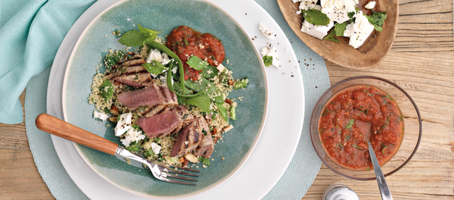 Lamb Steaks with Yogurt and Cilantro Marinade