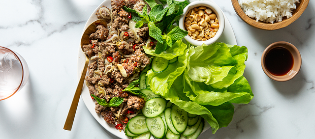 Lettuce Cups with Lamb Larb and Toasted Peanuts