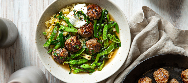 Lamb Meatballs with Scallions, Peas and Gremolata