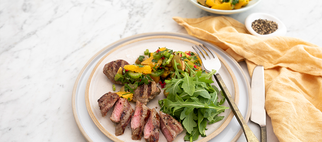 Seared Lamb Medallions with Fresh Orange, Green Olive and Herb Salsa