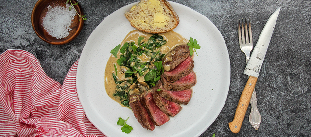 New York Strip Steaks in Spinach & Mushroom Sauce