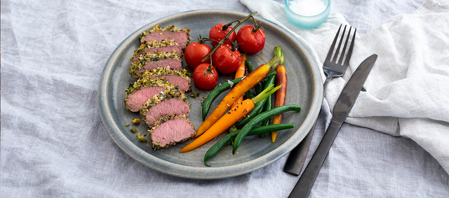 Lamb Steaks with Pistachio, Mint and Parsley Crust