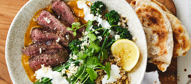 Sweet Potato and Coconut Curry with New York Strip Steaks