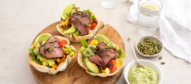 Venison Medallions Taco Salad Bowls with Avocado & Corn