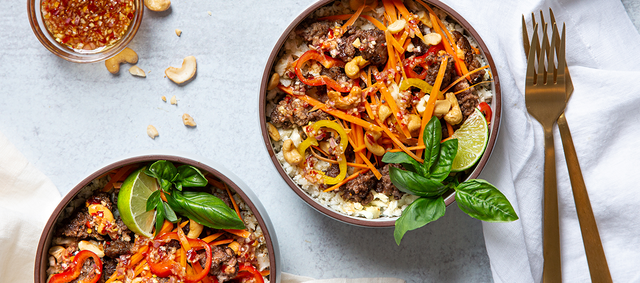 Thai Cauliflower Rice Bowl with Ground Beef
