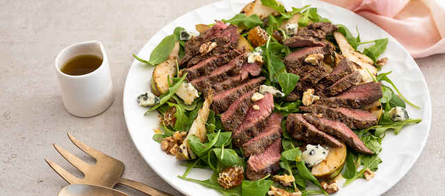Venison Medallions with Arugula, Grilled Pear & Walnut Salad