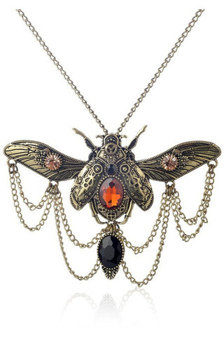 ATOMIC BRONZE STEAMPUNK BEETLE NECKLACE