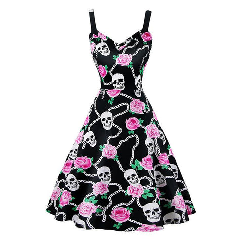 ATOMIC BLACK LINKED FLORAL AND SKULLS SWING DRESS