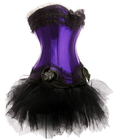 ATOMIC PURPLE BURLESQUE OVERBUST CORSET WITH PETTISKIRT