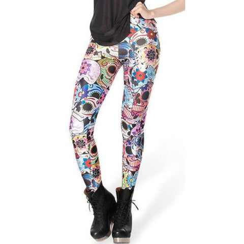09f7ee0f428e ATOMIC DAY OF THE DEAD COLORFUL SKULL LEGGINGS