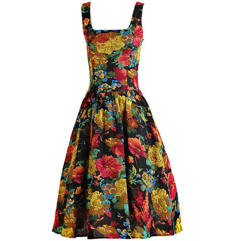 ATOMIC 1960'S FLORAL ROCKABILLY SWING DRESS