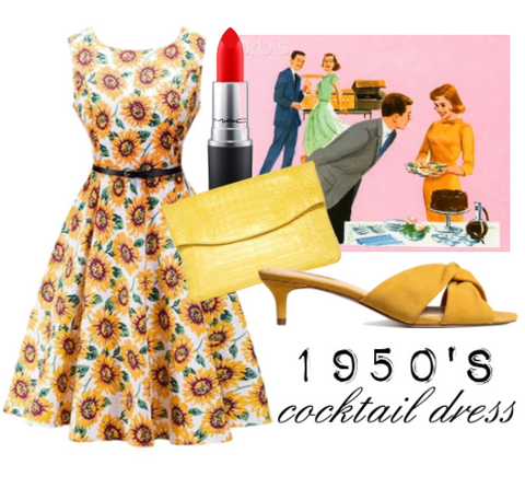 ATOMIC 1950'S SUNFLOWER SLEEVELESS COCKTAIL DRESS WITH BELT