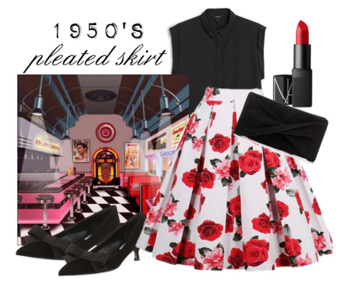 ATOMIC RED ROSE ROCKABILLY SKIRT