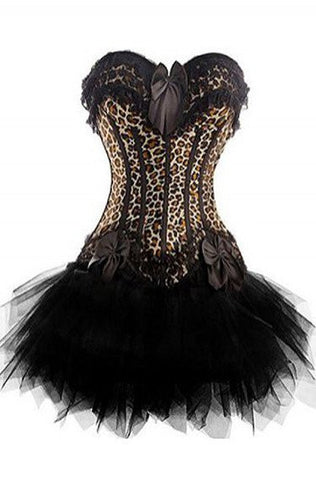 ATOMIC TWO PIECE LEOPARD LOVER BURLESQUE CORSET WITH TUTU