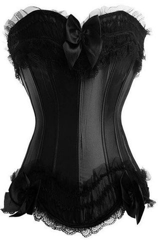 ATOMIC BLACK SATIN BURLESQUE OVERBUST CORSET