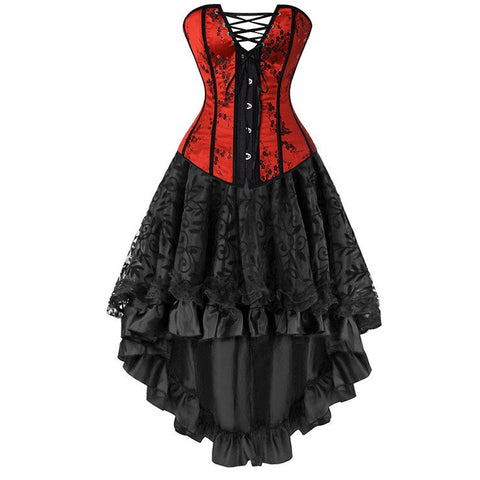 ATOMIC TWO PIECE RED AND BLACK CORSET AND SKIRT