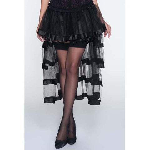 ATOMIC BLACK TIERED EMBELLISHED PETTICOAT
