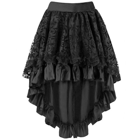 ATOMIC BLACK SATIN TIERED LACE SKIRT