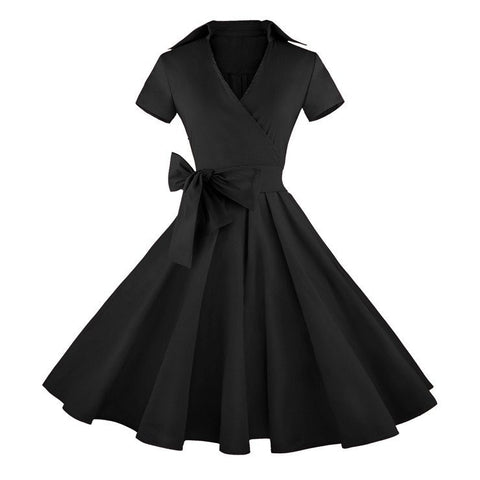 ATOMIC VINTAGE INSPIRED BLACK SWING ROCKABILLY DRESS