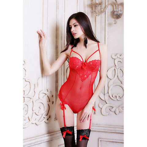 ATOMIC RED LACE MESH TEDDY WITH GARTERS