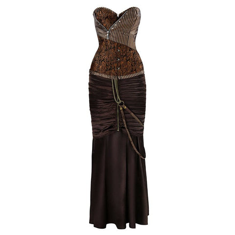 ATOMIC STEAMPUNK GOTHIC BROWN CORSET SKIRT