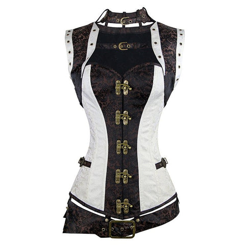 ATOMIC TWO TONED STEEL BONED STEAMPUNK OVERBUST CORSET