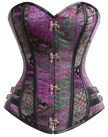 ATOMIC MIX IT UP PURPLE STEEL BONED STEAMPUNK CORSET