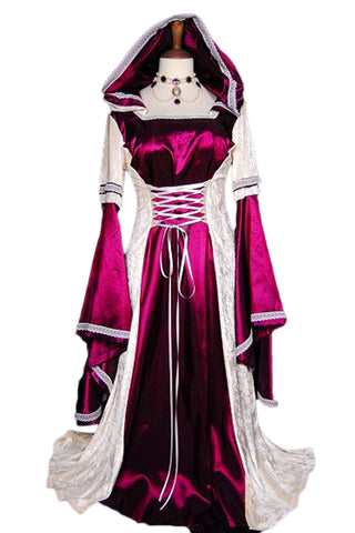 Red and White Hooded Robe Costume