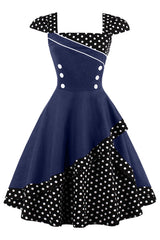 Black and Navy Rockabilly Cocktail Dress