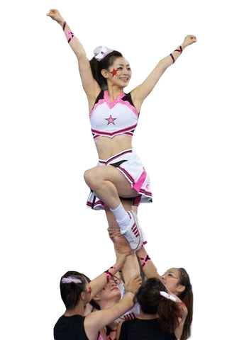 White and Pink Cheerleader Costume