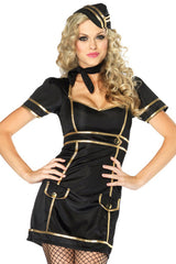 Black and Gold Stewardess Costume