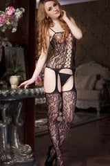 Black Floral Crisscross Body Stocking