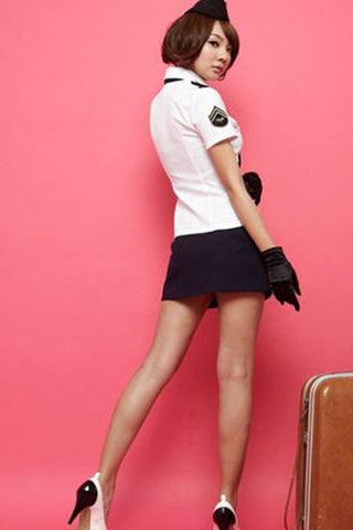 Black and White Flight Stewardess Costume
