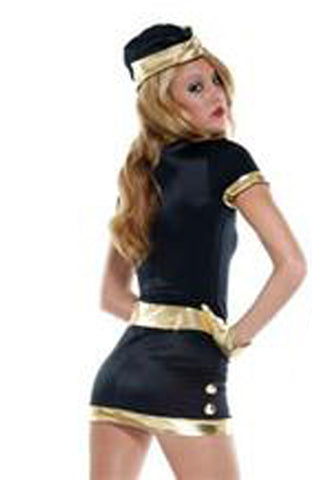 Navy and Gold Flight Attendant Costume