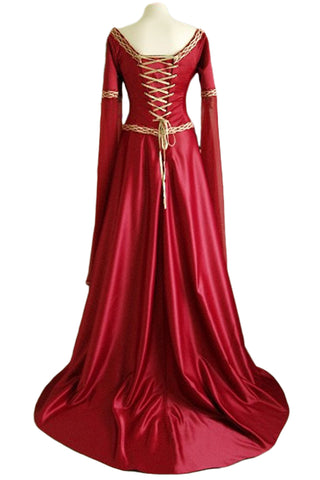 Red Chest Strap Long Sleeved Gown