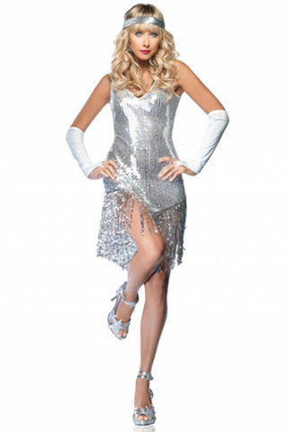 Silver Confetti Mini Dress