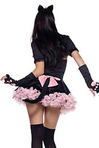 Black and Pink Bowed Cat Costume
