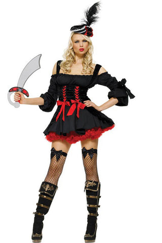 Black and Red Pirate Wench Costume