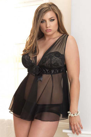 Black Rose Plus Size Babydoll
