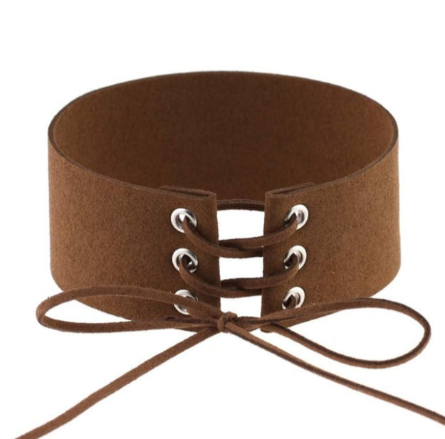 0bfaa71731 Atomic Brown Velvet Lace-up Wide Choker